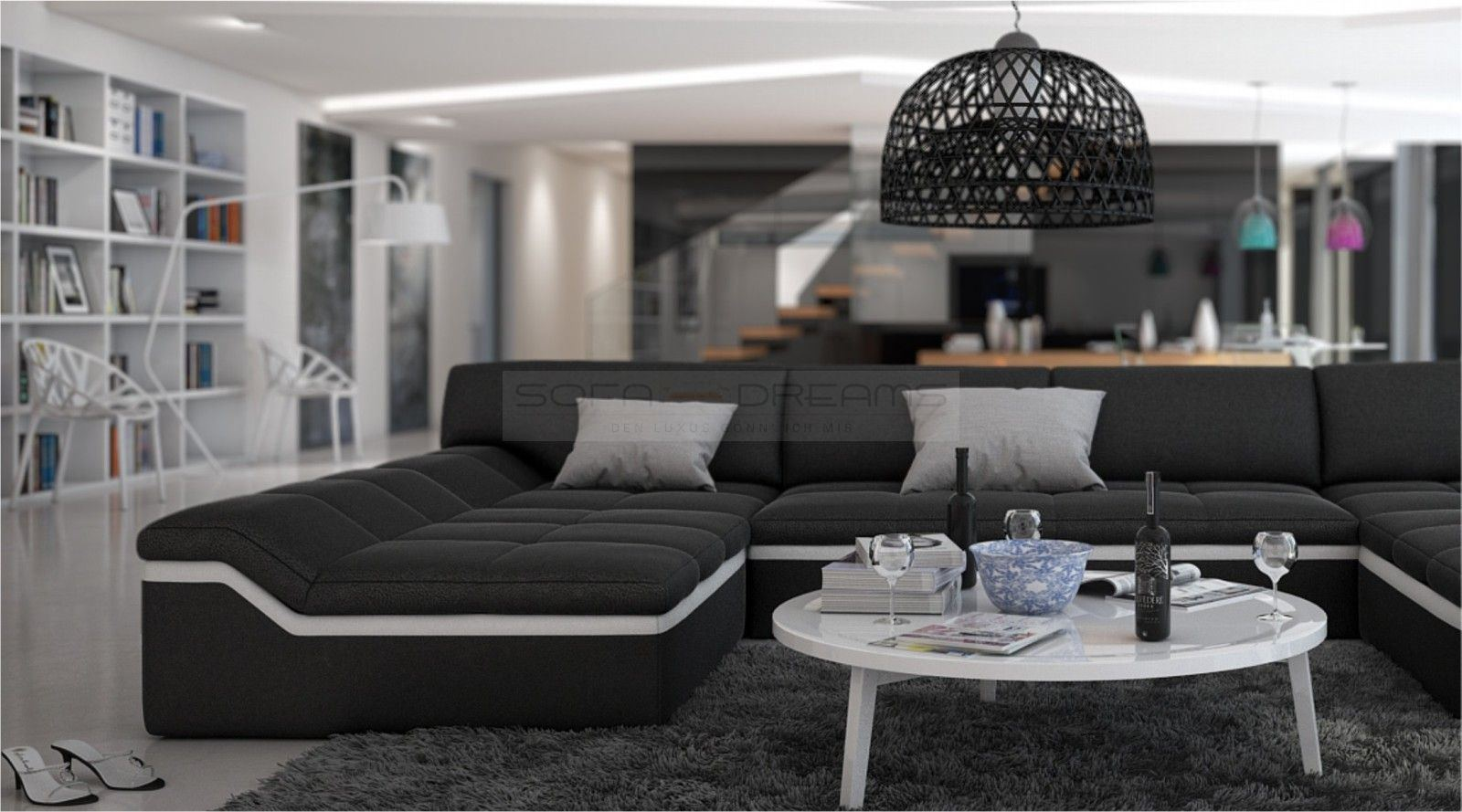 Moderne Wohnlandschaft Barari U Form Sofa Design Couch Relaxsofa Ebay
