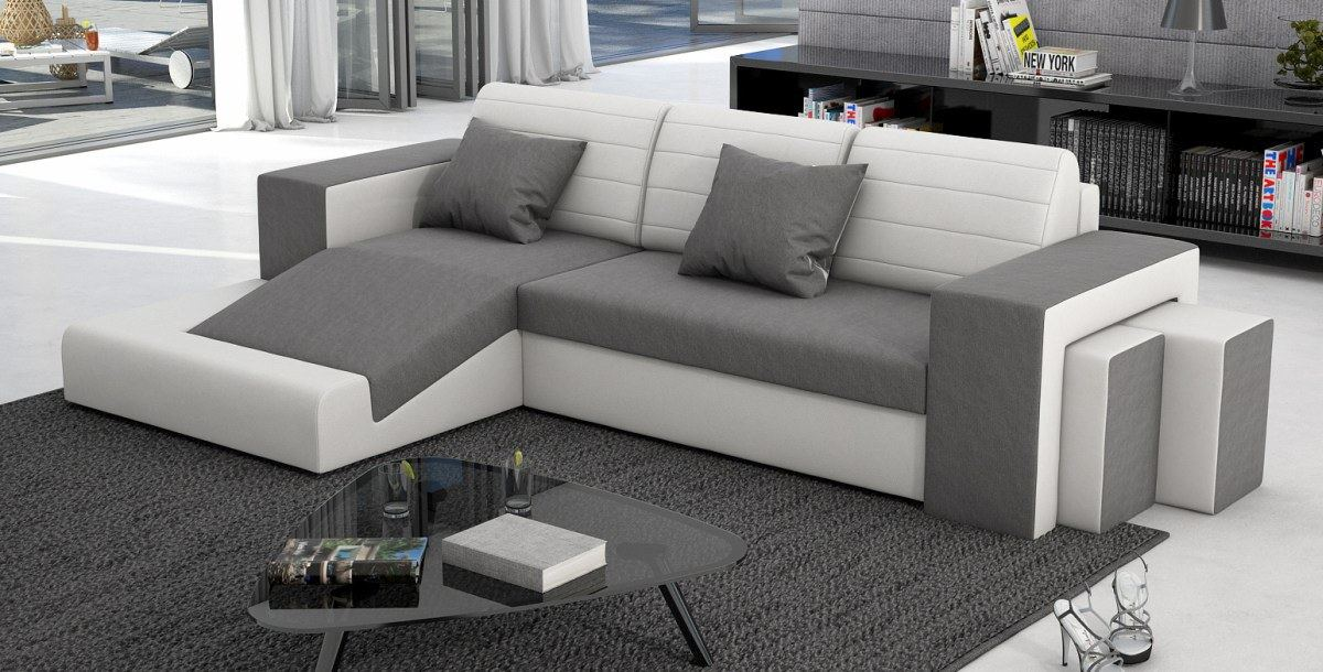 schlafcouch sofa couch garnitur mino schlafsofa materialmix weiss grau ebay. Black Bedroom Furniture Sets. Home Design Ideas