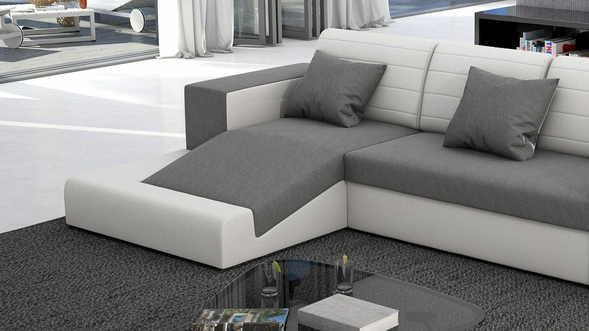 schlafcouch sofa couch garnitur mino schlafsofa materialmix weiss grau. Black Bedroom Furniture Sets. Home Design Ideas