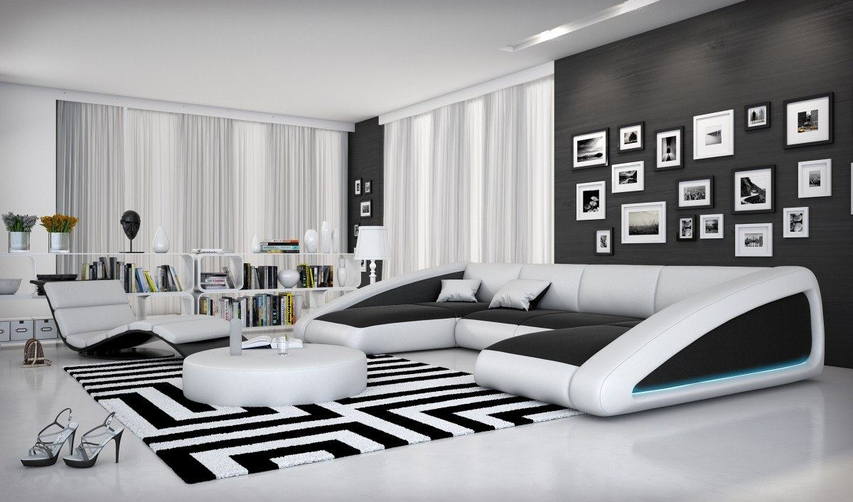 Interior design nassau u shaped leather sofa design couch for Sofa u form federkern