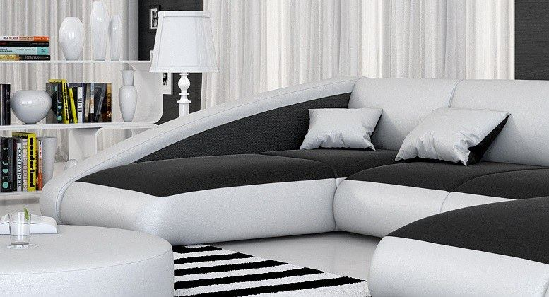 wohnlandschaft ledersofa ecksofa design couch nassau u form mit led beleuchtung ebay. Black Bedroom Furniture Sets. Home Design Ideas