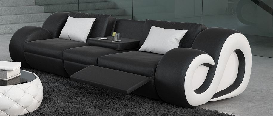 ledersofa nesta 3 sitzer beleuchtung loungesofa design couch luxussofa relaxsofa ebay. Black Bedroom Furniture Sets. Home Design Ideas