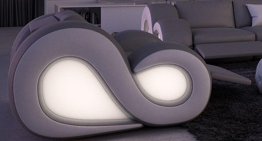 leder sofa garnitur couchgarnitur nesta 3 sitzer und 2 sitzer led beleuchtung ebay. Black Bedroom Furniture Sets. Home Design Ideas