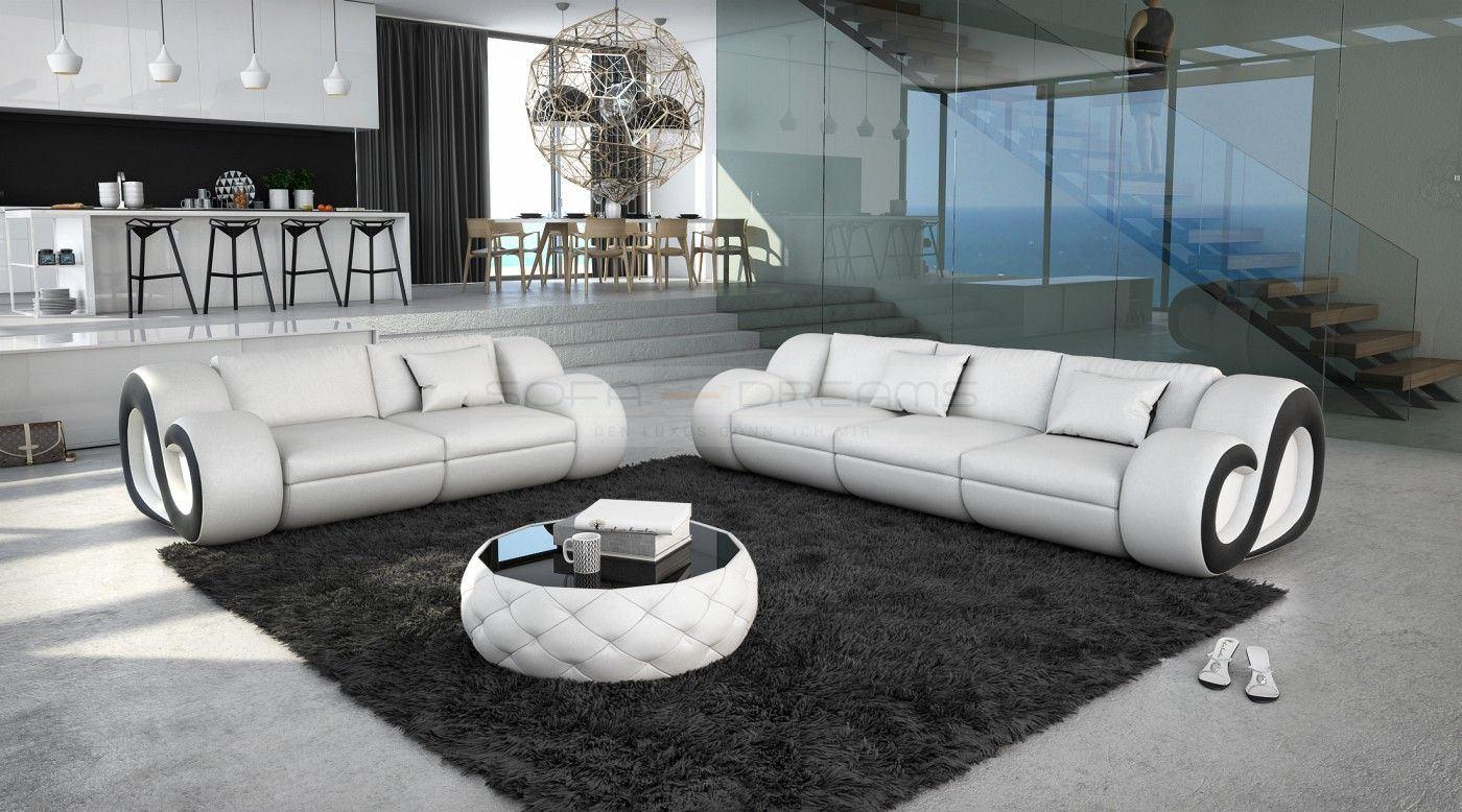 leder sofa garnitur couchgarnitur nesta 3 sitzer und 2 sitzer led beleuchtung ebay
