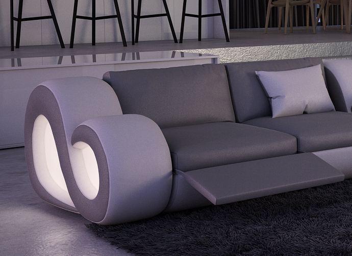 ledersofa eckcouch nesta l form xxl led beleuchtung. Black Bedroom Furniture Sets. Home Design Ideas