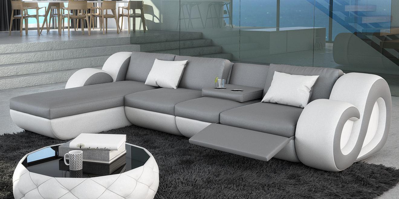 ledersofa eckcouch nesta l form mit led beleuchtung. Black Bedroom Furniture Sets. Home Design Ideas