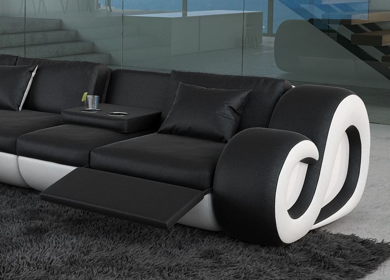 leather sofa corner couch nesta l shape with led lighting designersofa design ebay. Black Bedroom Furniture Sets. Home Design Ideas