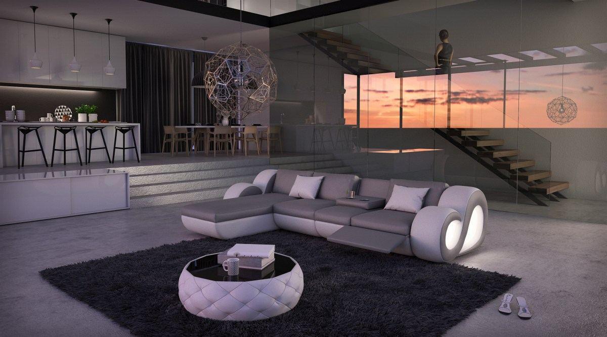 leather sofa corner couch nesta l shape with led lighting. Black Bedroom Furniture Sets. Home Design Ideas