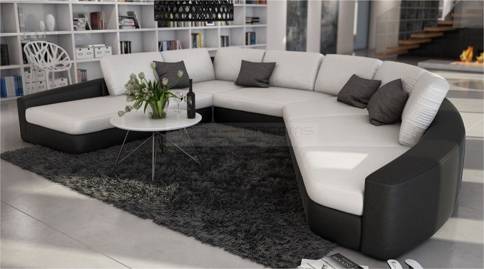 loungesofa rundsofa rina ecksofa designsofa eckcouch relaxsofa ebay. Black Bedroom Furniture Sets. Home Design Ideas