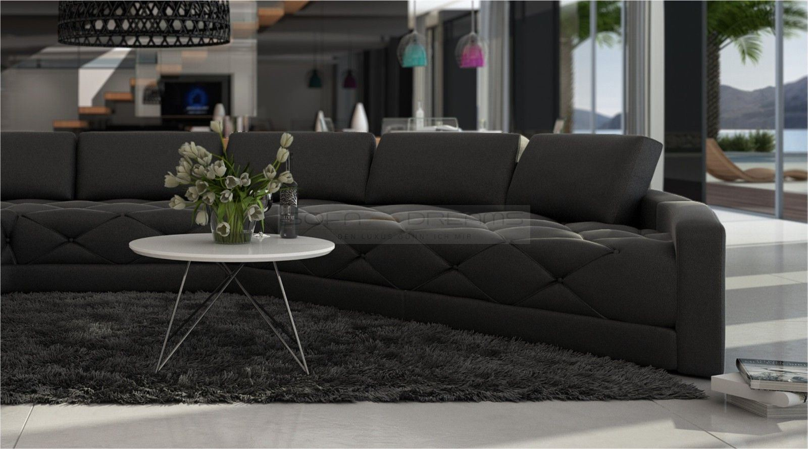 Rundsofa Secreto Gesteppte Sitzflache Designersofa Luxuscouch Leder