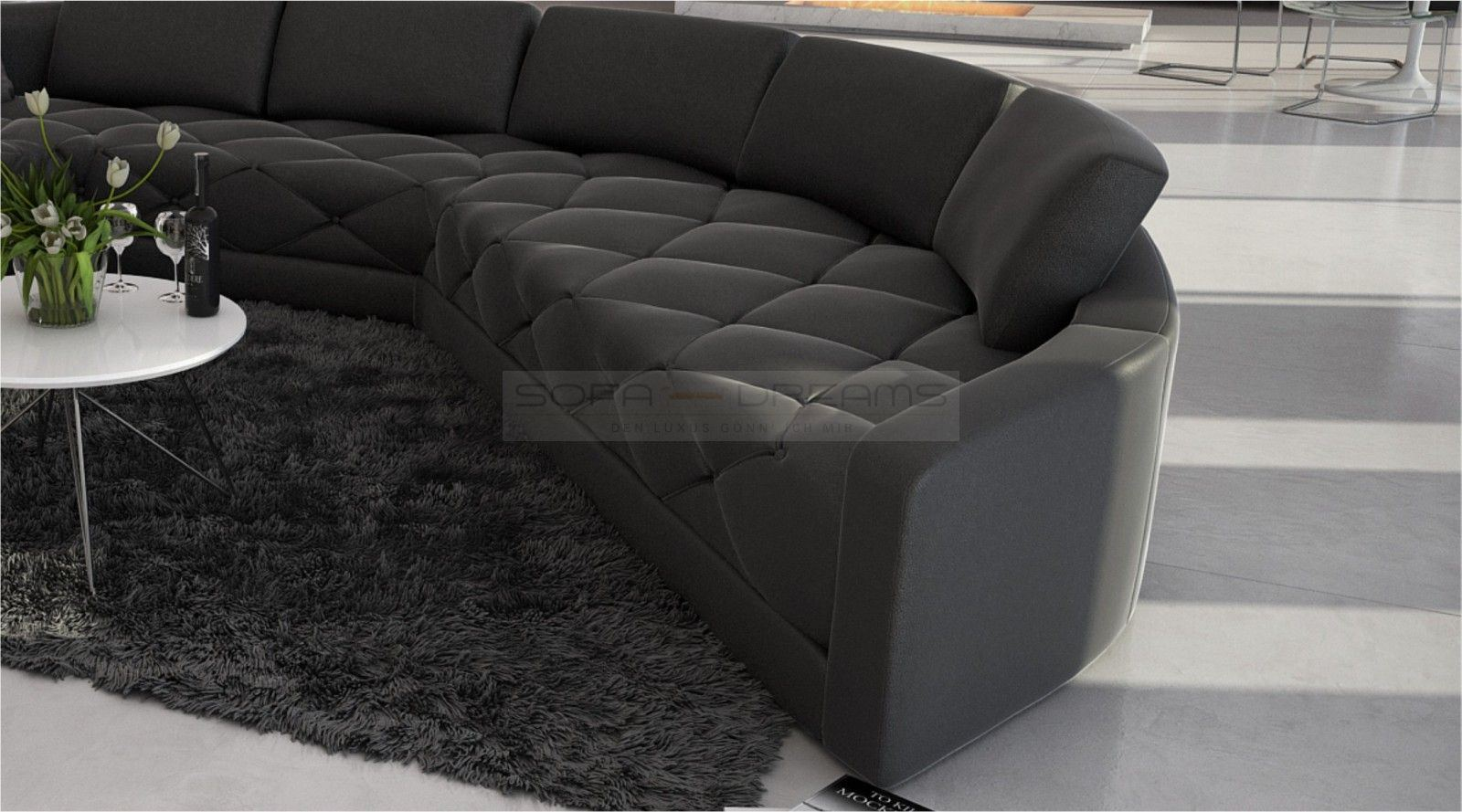rundsofa secreto gesteppte sitzfl che designersofa luxuscouch leder stoff ebay. Black Bedroom Furniture Sets. Home Design Ideas
