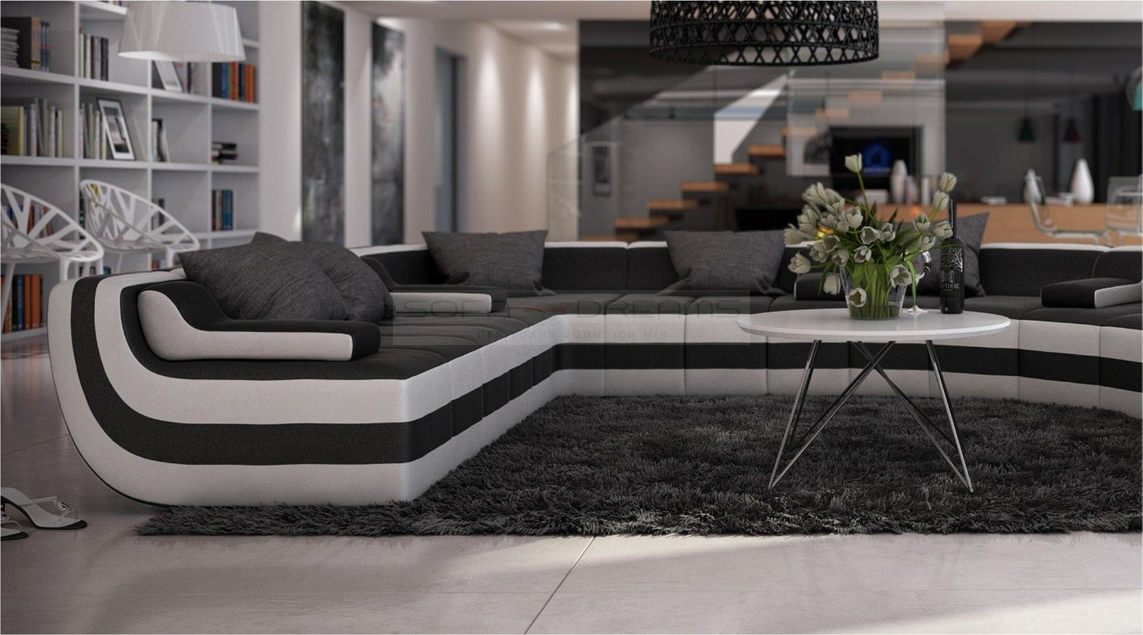 rundsofa u form loungesofa tissera wohnlandschaft design eckcouch ebay. Black Bedroom Furniture Sets. Home Design Ideas