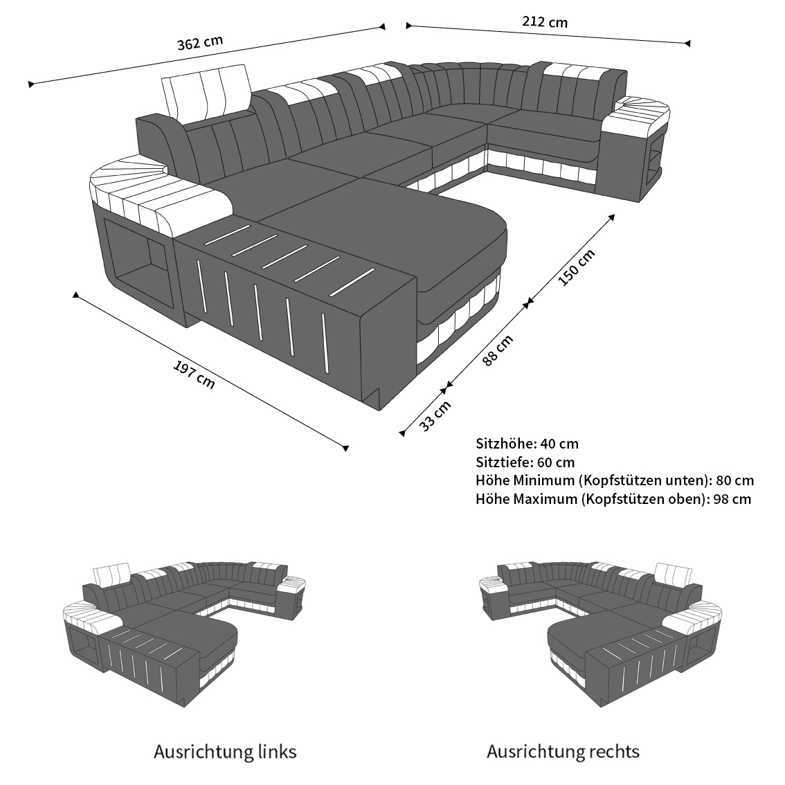Couch u form maße  Designer Wohnlandschaft Bellagio U Form das exklusive Ledersofa