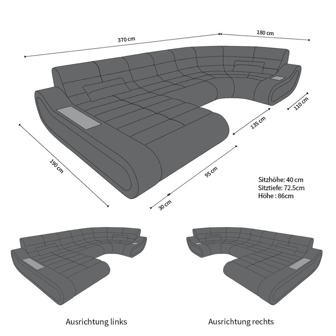 Couch u form maße  Leder Wohnlandschaft Concept in U die moderne Couch mit Beleuchtung