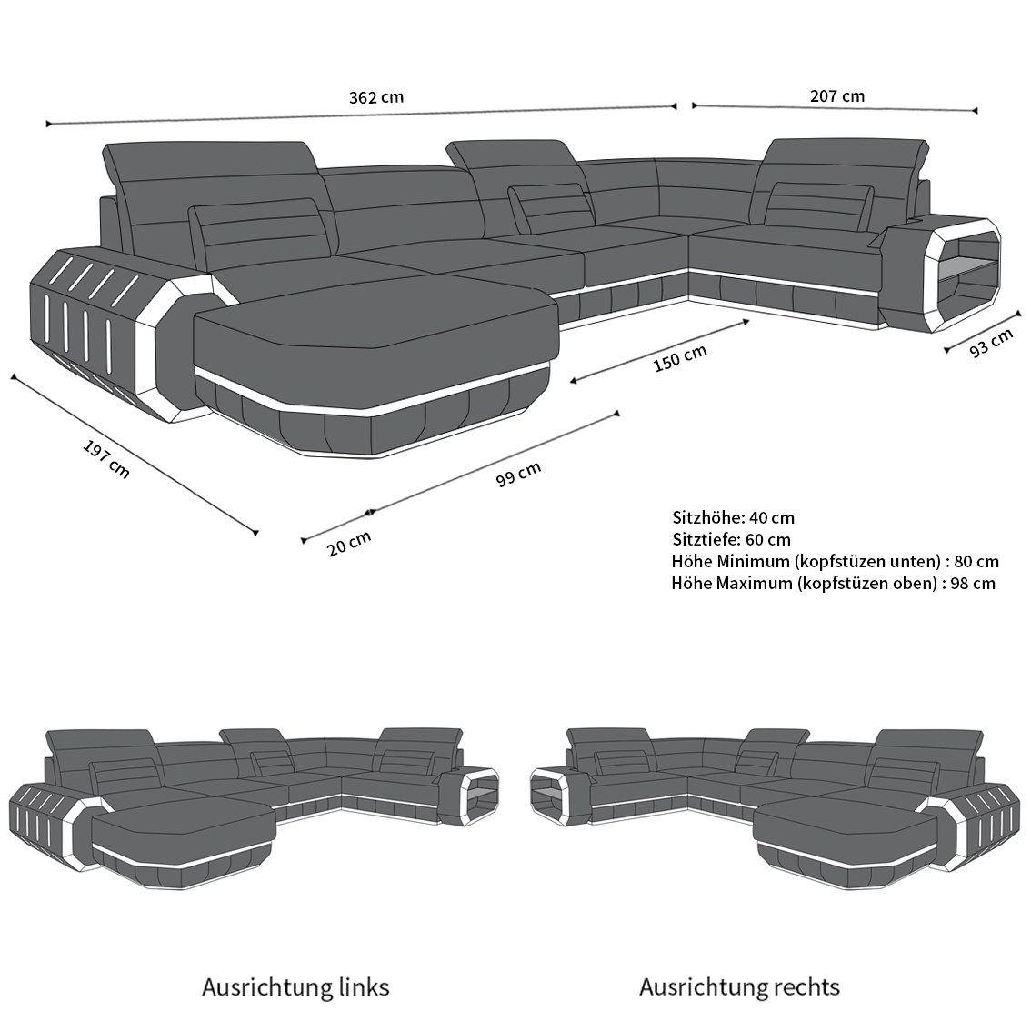 Stoffsofa Wohnlandschaft Roma als moderne U Form Couch mit