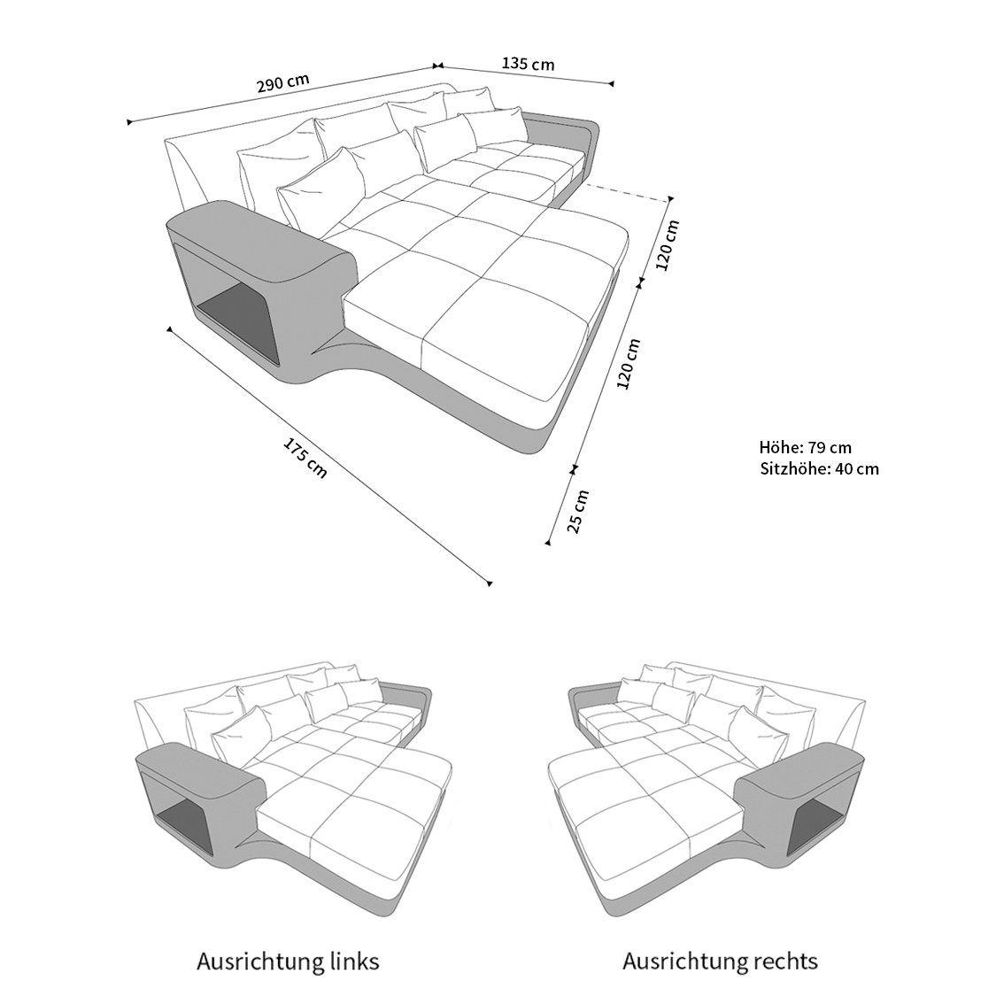 Big Sofa Milano Stoff - Stoffsofa mit Strukturstoff oder ...