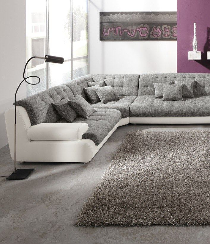 wohnlandschaft leder stoff chillout two couch materialmix garnitur u form sofa ebay. Black Bedroom Furniture Sets. Home Design Ideas