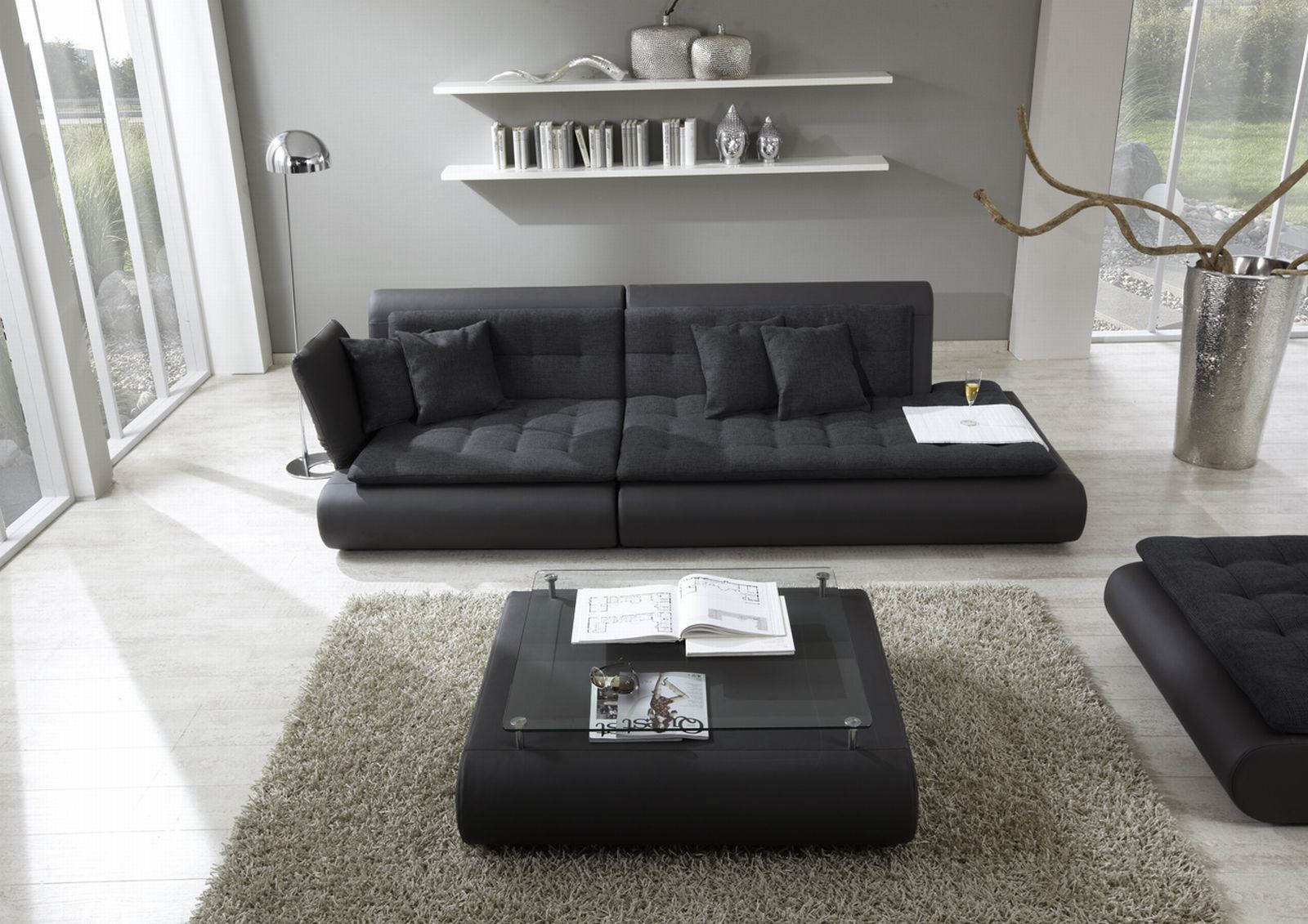 dreisitzer sofa couch 3 sitzer stoffcouch stoffsofa modulsofa exit two stoffmix ebay. Black Bedroom Furniture Sets. Home Design Ideas