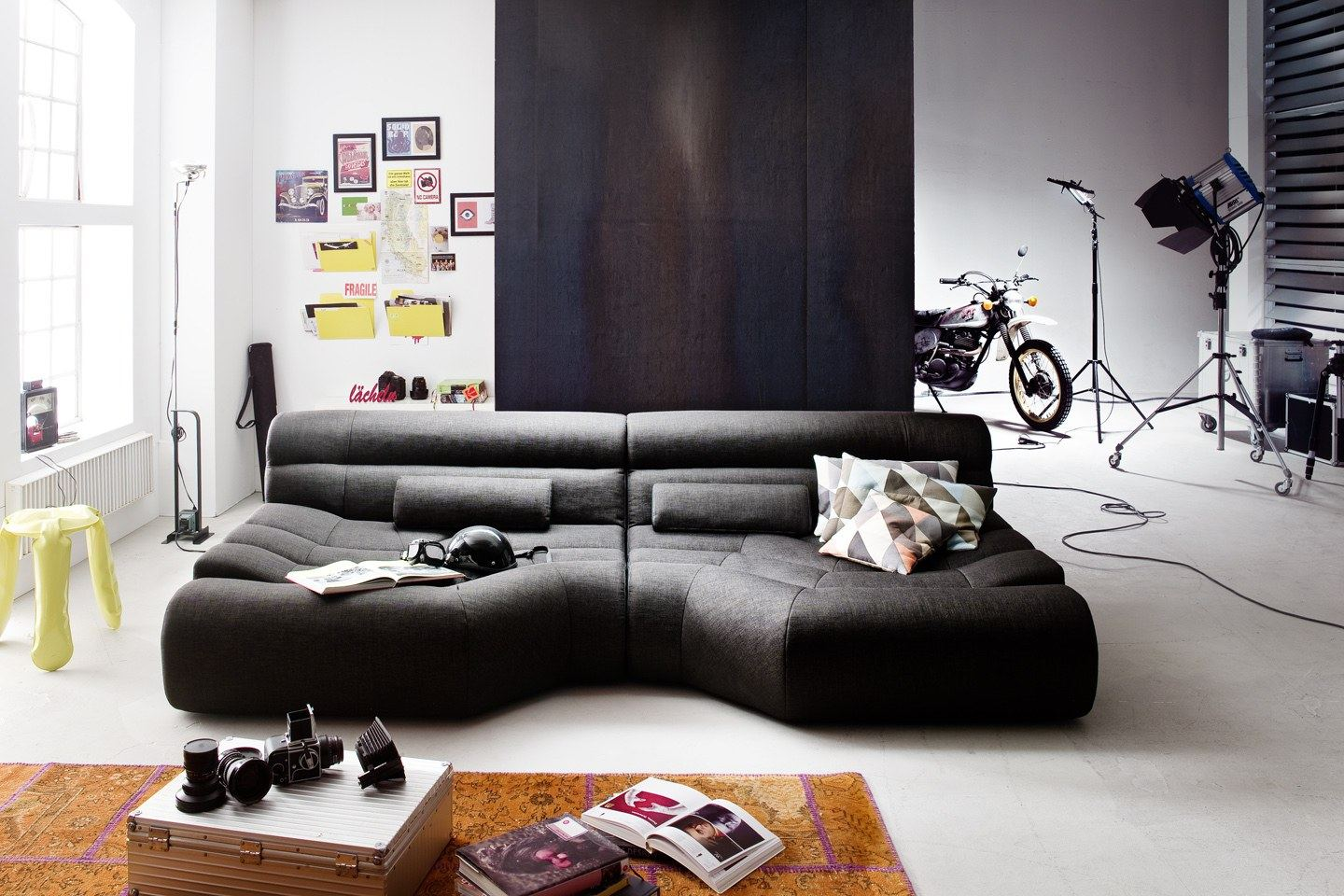 megasofa big sofa trapez megasofa designer wohnlandschaft stoff couch relaxsofa ebay. Black Bedroom Furniture Sets. Home Design Ideas