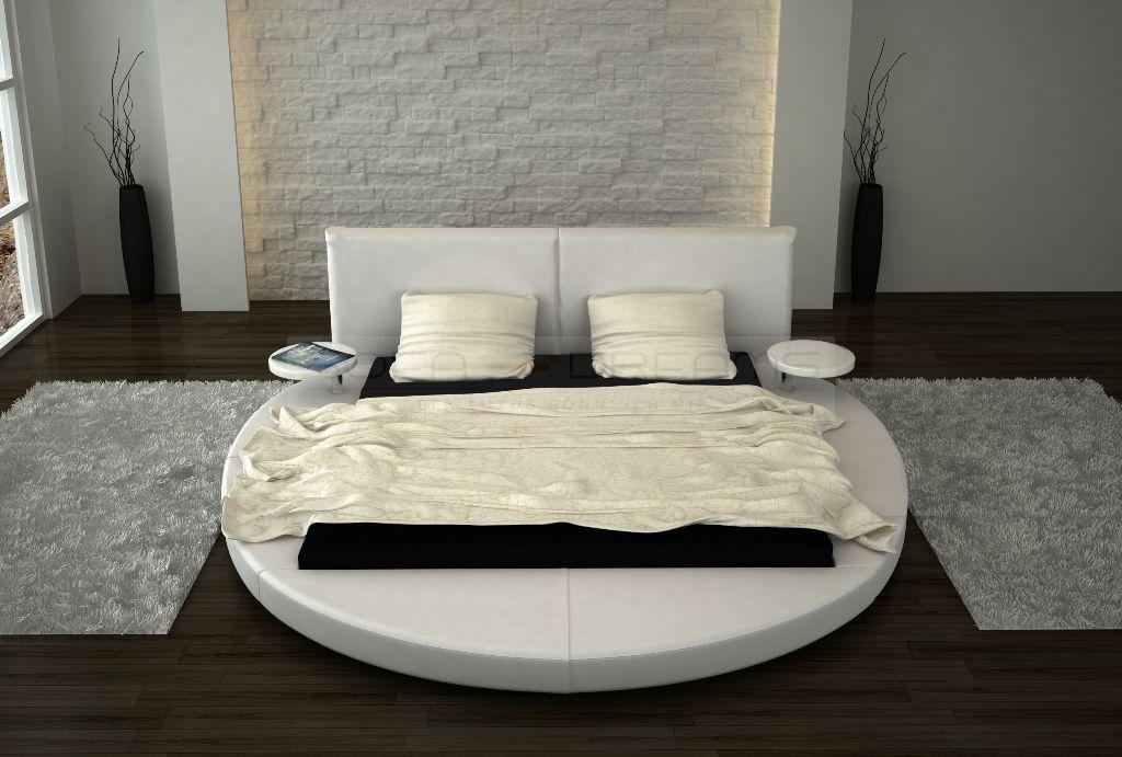 Rundbett design bett rund roma polsterbett ehebett doppelbett mit nachttischen ebay - Schlafzimmer roma ...