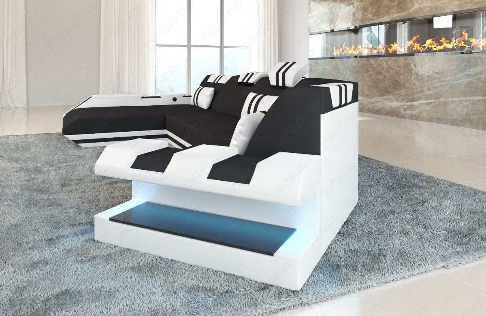 sofa interior design fabric leather mix apollonia c corner. Black Bedroom Furniture Sets. Home Design Ideas