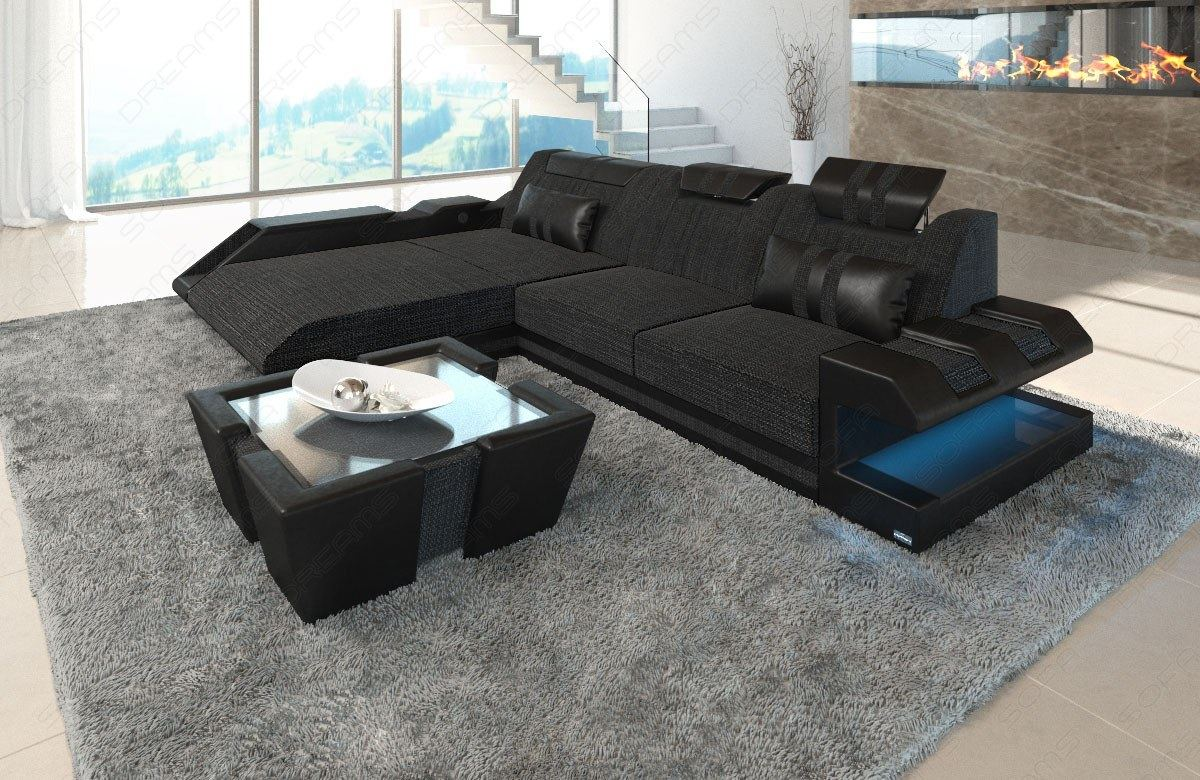 stoffsofa polstercouch stoff apollonia l form led. Black Bedroom Furniture Sets. Home Design Ideas
