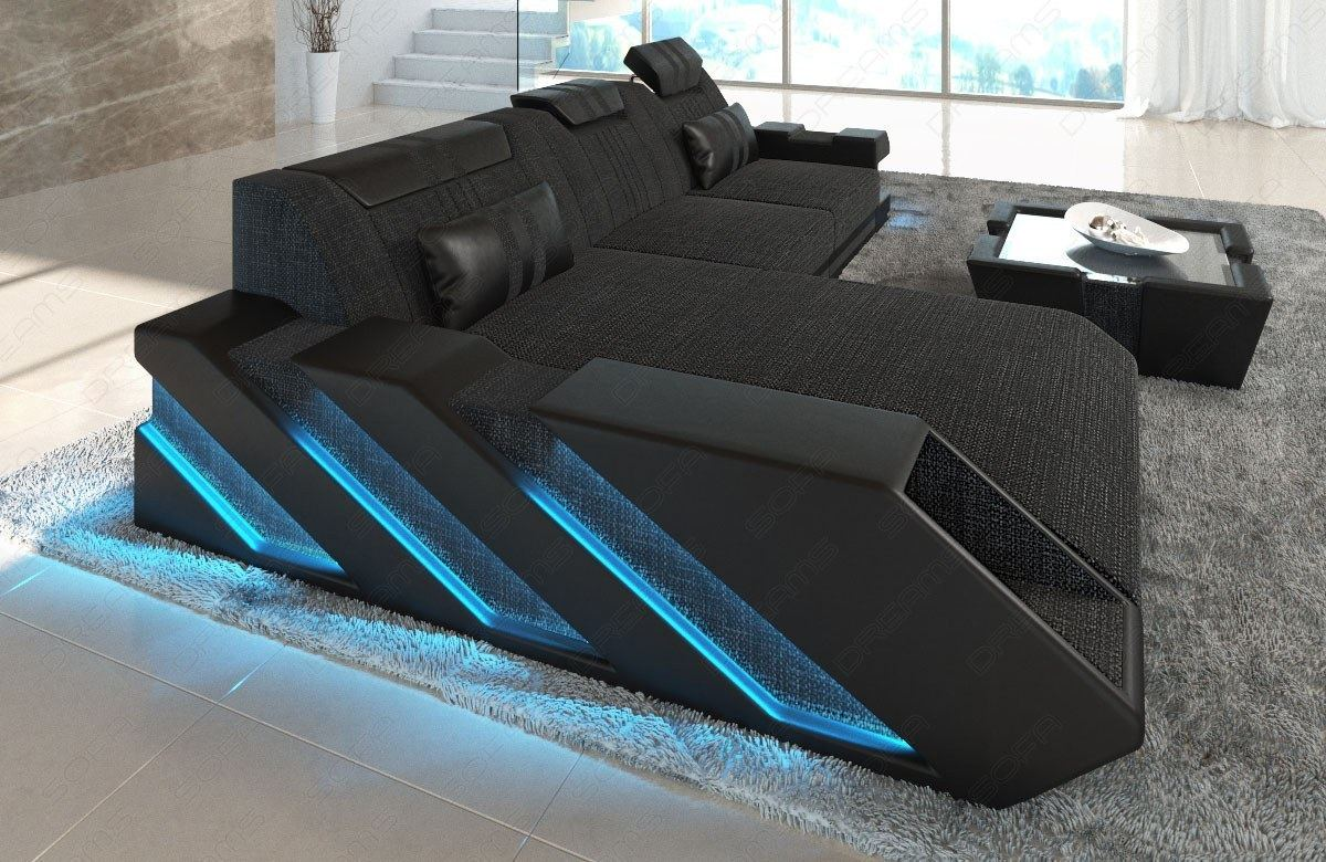 stoffsofa materialmix apollonia l form eckcouch mit led. Black Bedroom Furniture Sets. Home Design Ideas