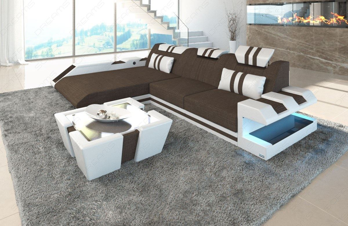 stoffsofa polstersofa materialmix apollonia l form eckcouch mit led beleuchtung ebay. Black Bedroom Furniture Sets. Home Design Ideas