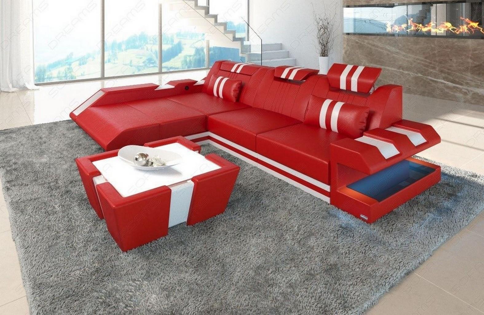 sectional sofa genuine leather new jersey l shape led lights usb port ebay. Black Bedroom Furniture Sets. Home Design Ideas