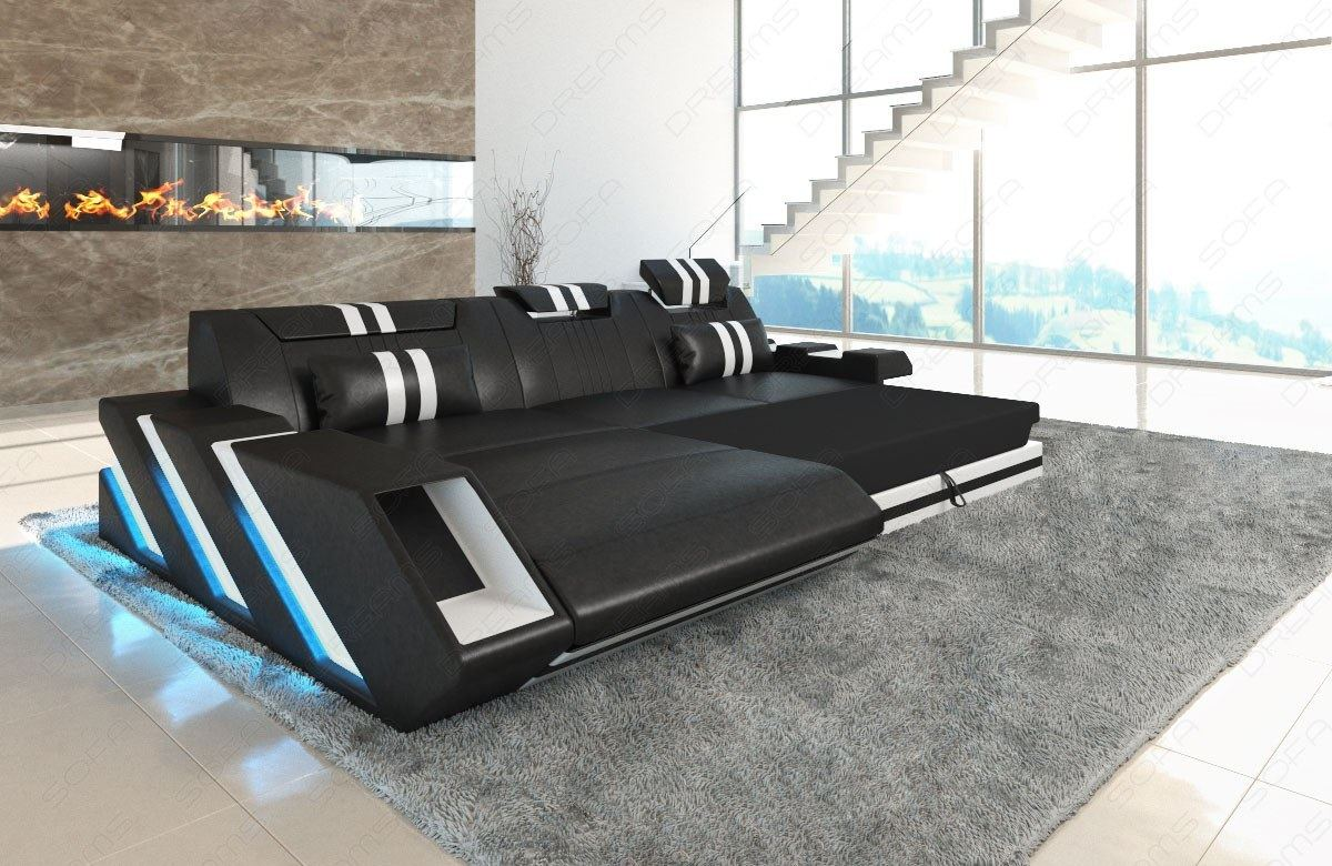 ledersofa ecksofa apollonia l form luxus couch led. Black Bedroom Furniture Sets. Home Design Ideas