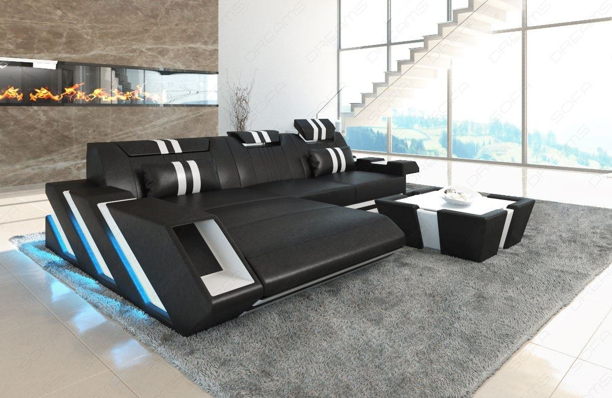 Leather Sectional Sofa New Jersey L Shape Led Lights