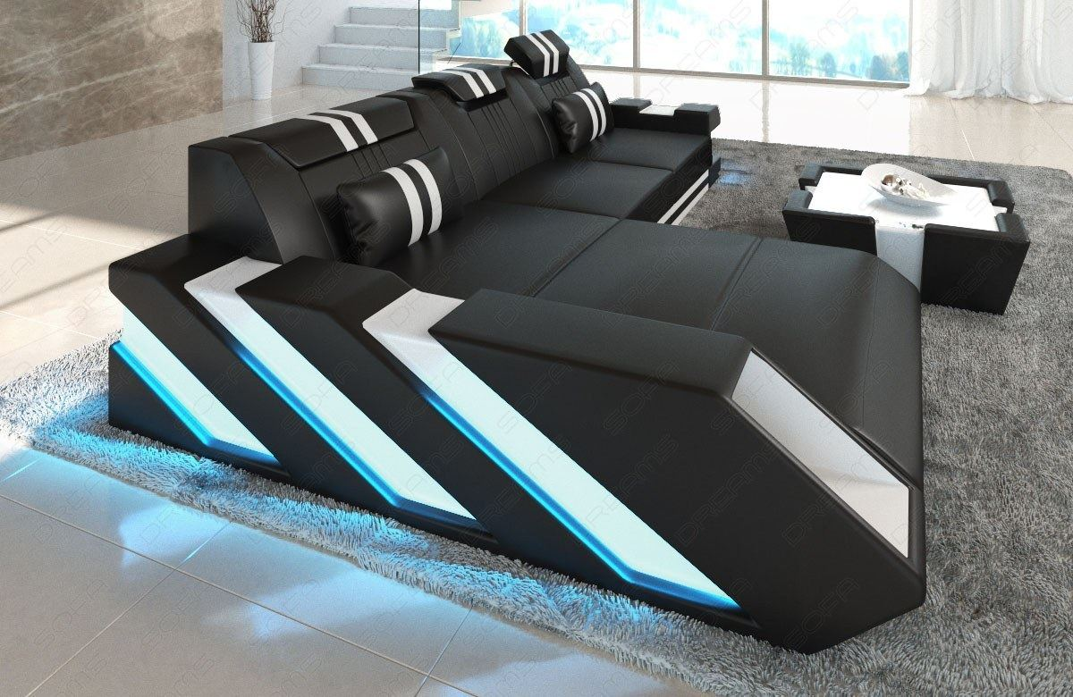 ledersofa ecksofa couch apollonia l form luxus led beleuchtung usb anschlu ebay. Black Bedroom Furniture Sets. Home Design Ideas