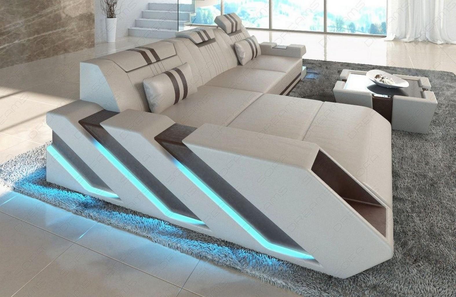 ledersofa eckcouch apollonia l form designer couch + led ... - Designer Couch Modelle Komfort