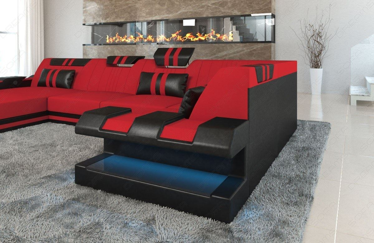 Stoff Leder Materialmix Designersofa Apollonia U Mit Led Beleuchtung Rot Ebay