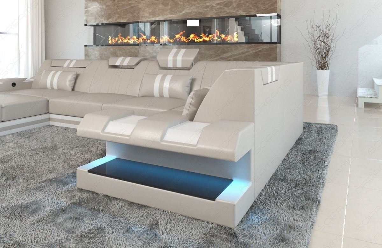 Ledersofa Design Couch Wohnlandschaft Apollonia U Form Beige Weiss