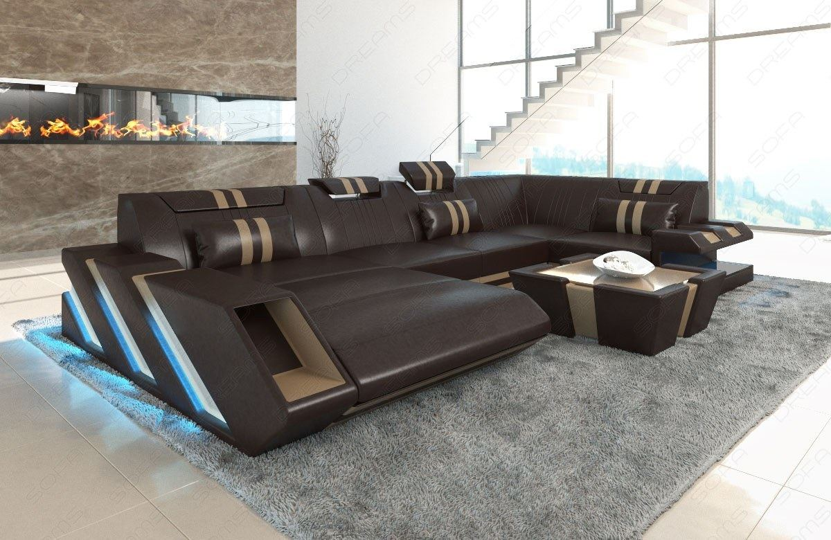 sectional sofa genuine leather apollonia u shape. Black Bedroom Furniture Sets. Home Design Ideas