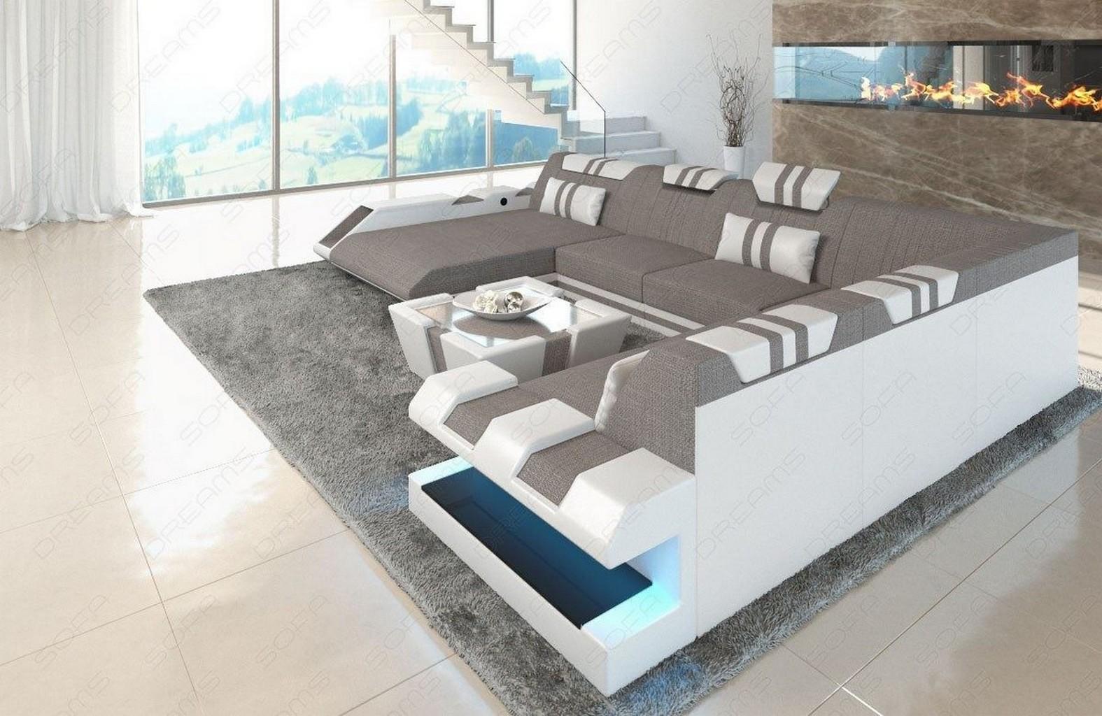 Sectional Sofa Fabric Apollonia Xl Designsofa Colour Select With Led Lighting Ebay
