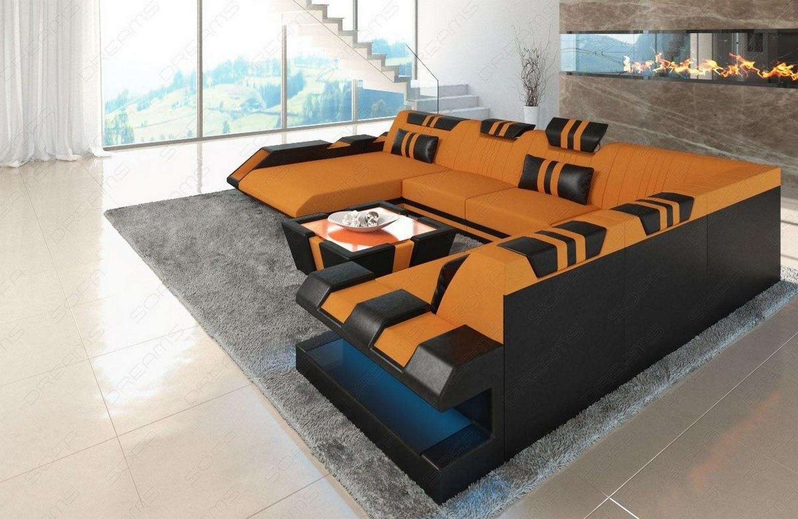Wohnlandschaft Stoff Leder Materialmix Apollonia Xxl Sofa Led Beleuchtung Orange Ebay