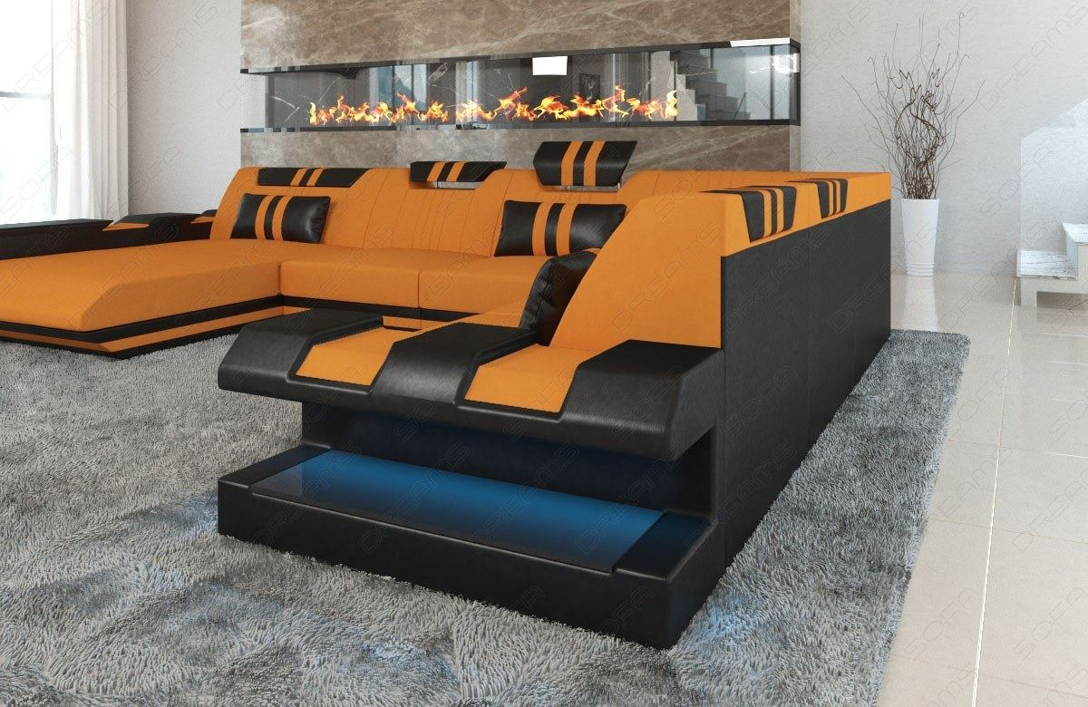 sectional sofa fabric apollonia xl designsofa colour. Black Bedroom Furniture Sets. Home Design Ideas