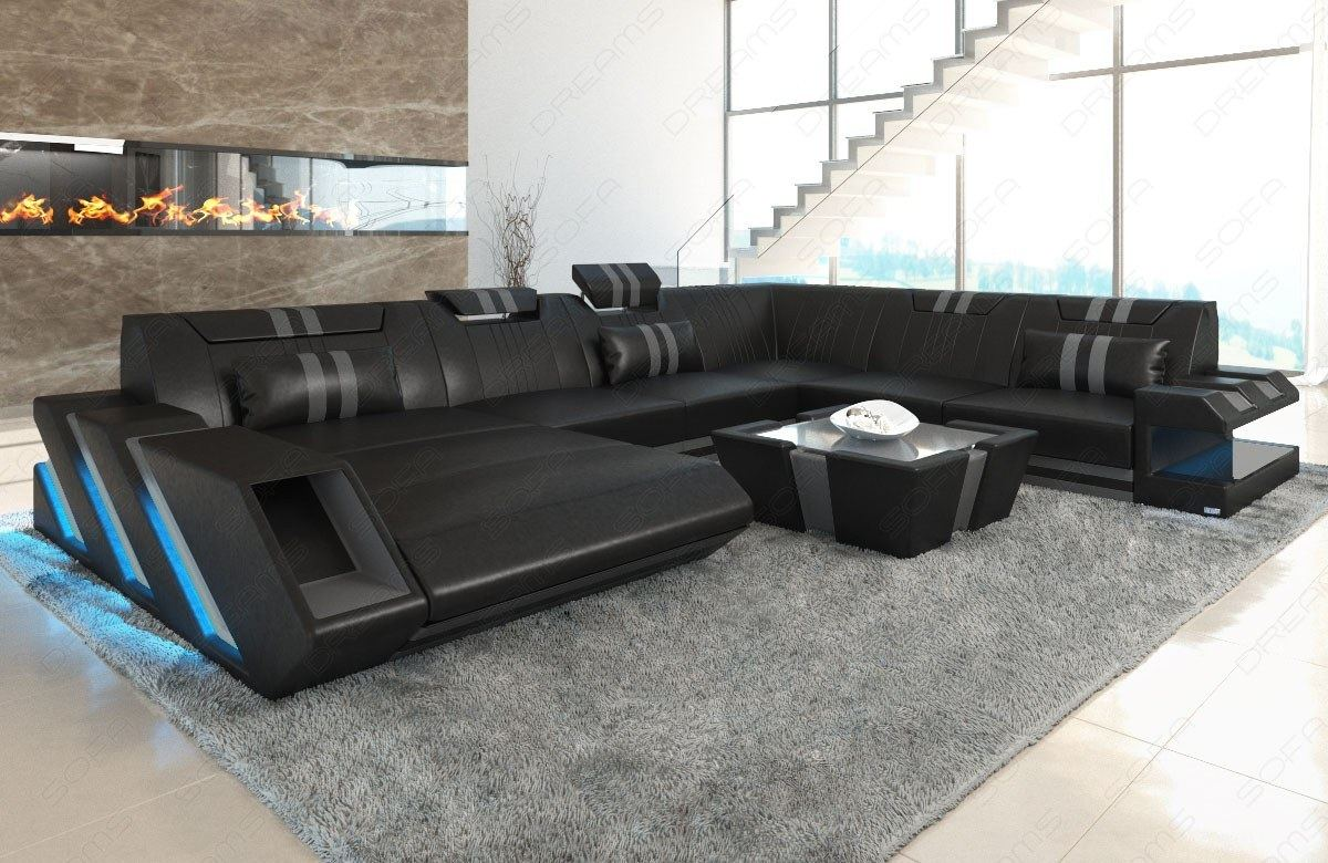 sectional sofa genuine leather apollonia xl cornersofa led lighting usb ebay. Black Bedroom Furniture Sets. Home Design Ideas