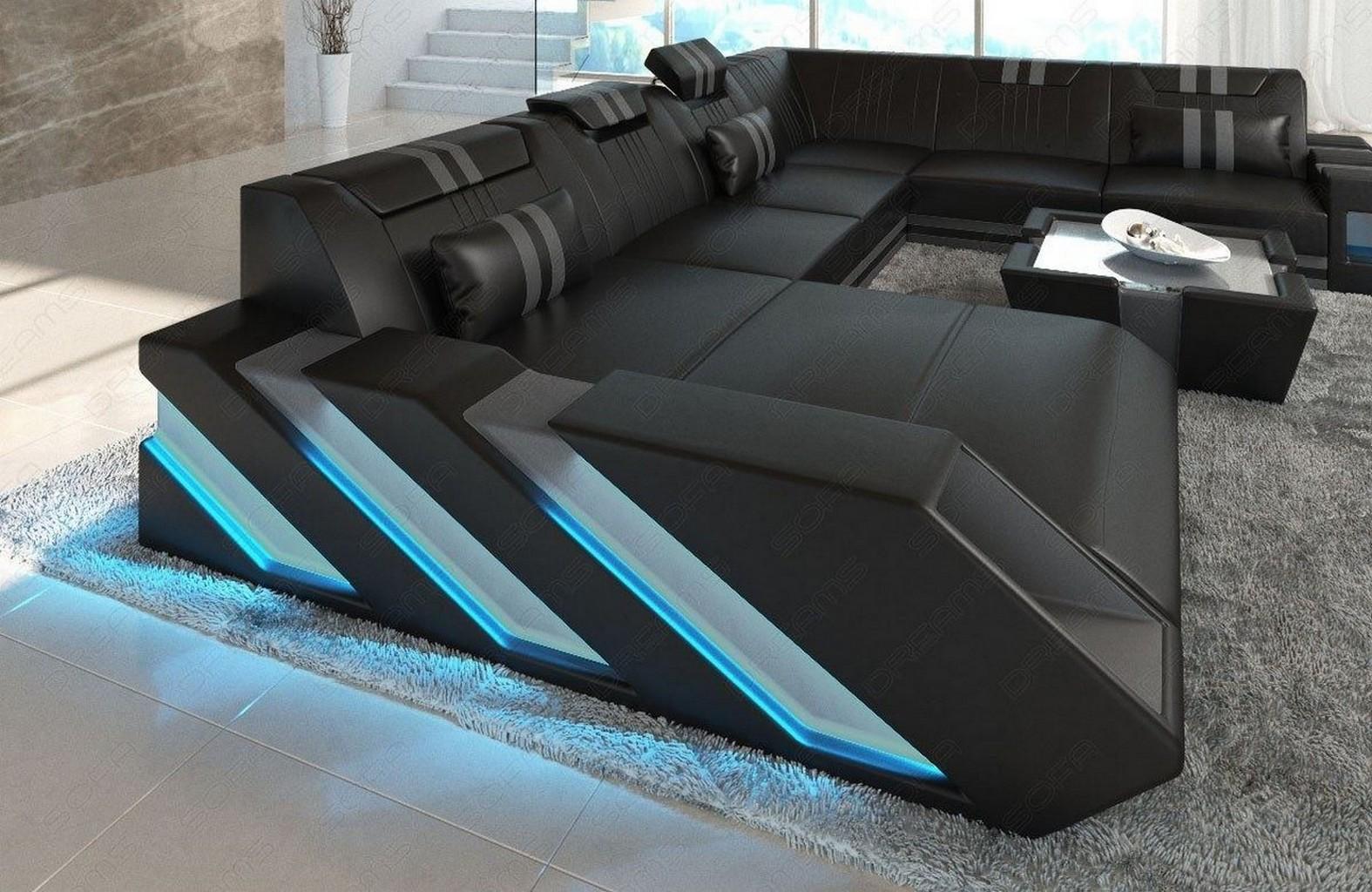 leather sofa interior design apollonia xll led usb. Black Bedroom Furniture Sets. Home Design Ideas