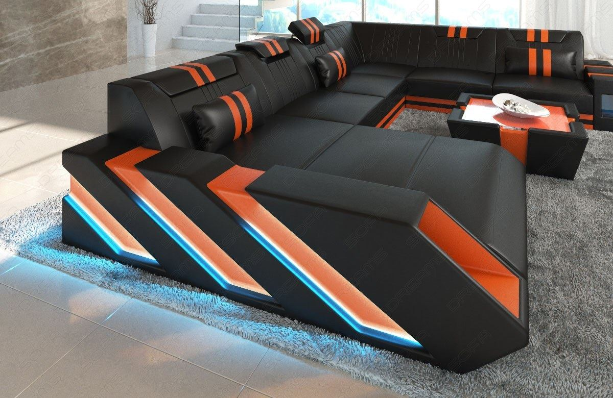 leder wohnlandschaft xxl design ecksofa apollonia luxus sofa garnitur couchtisch ebay. Black Bedroom Furniture Sets. Home Design Ideas