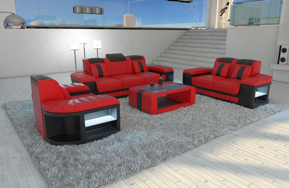 sofa set sofa set seating area bellagio 3 2 1 with led. Black Bedroom Furniture Sets. Home Design Ideas