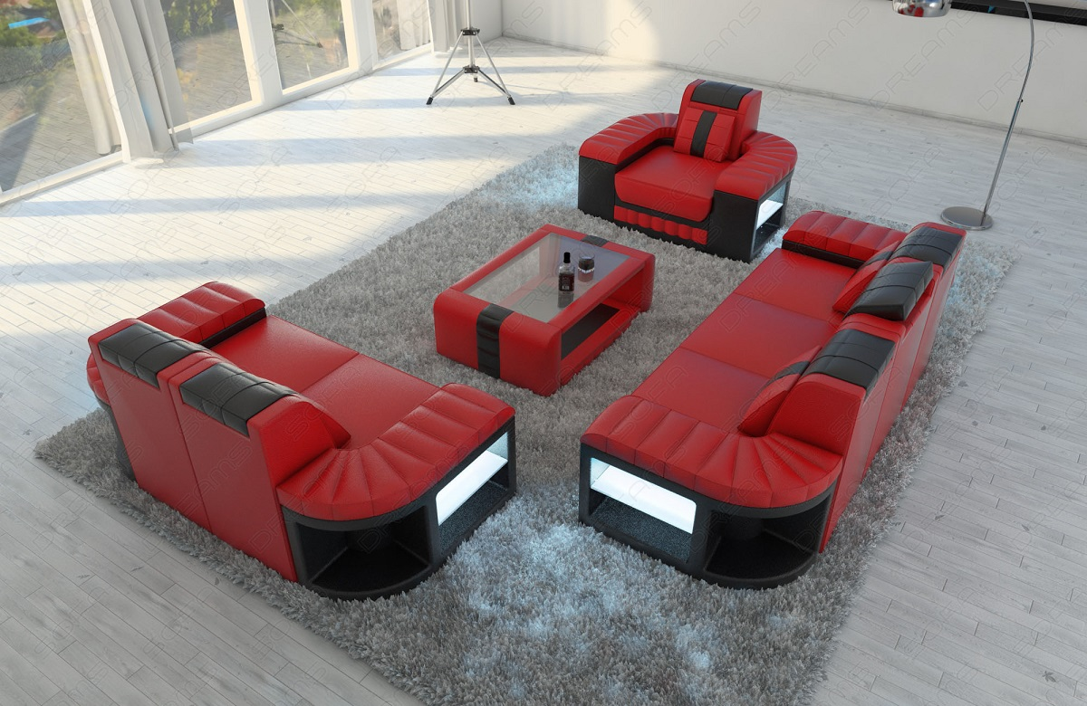 sofagarnitur couchgarnitur sitzgruppe bellagio 3 2 1 mit led luxus ledersofa rot ebay. Black Bedroom Furniture Sets. Home Design Ideas