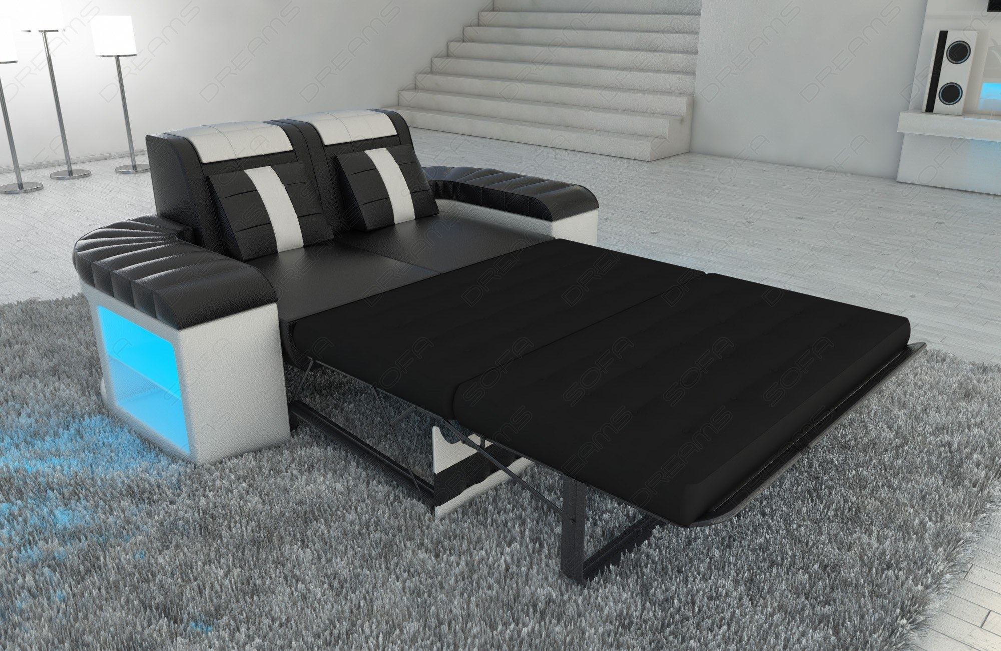 sofa garnitur couch garnitur design bellagio 3 2 1 led ledersofa schwarz weiss ebay. Black Bedroom Furniture Sets. Home Design Ideas