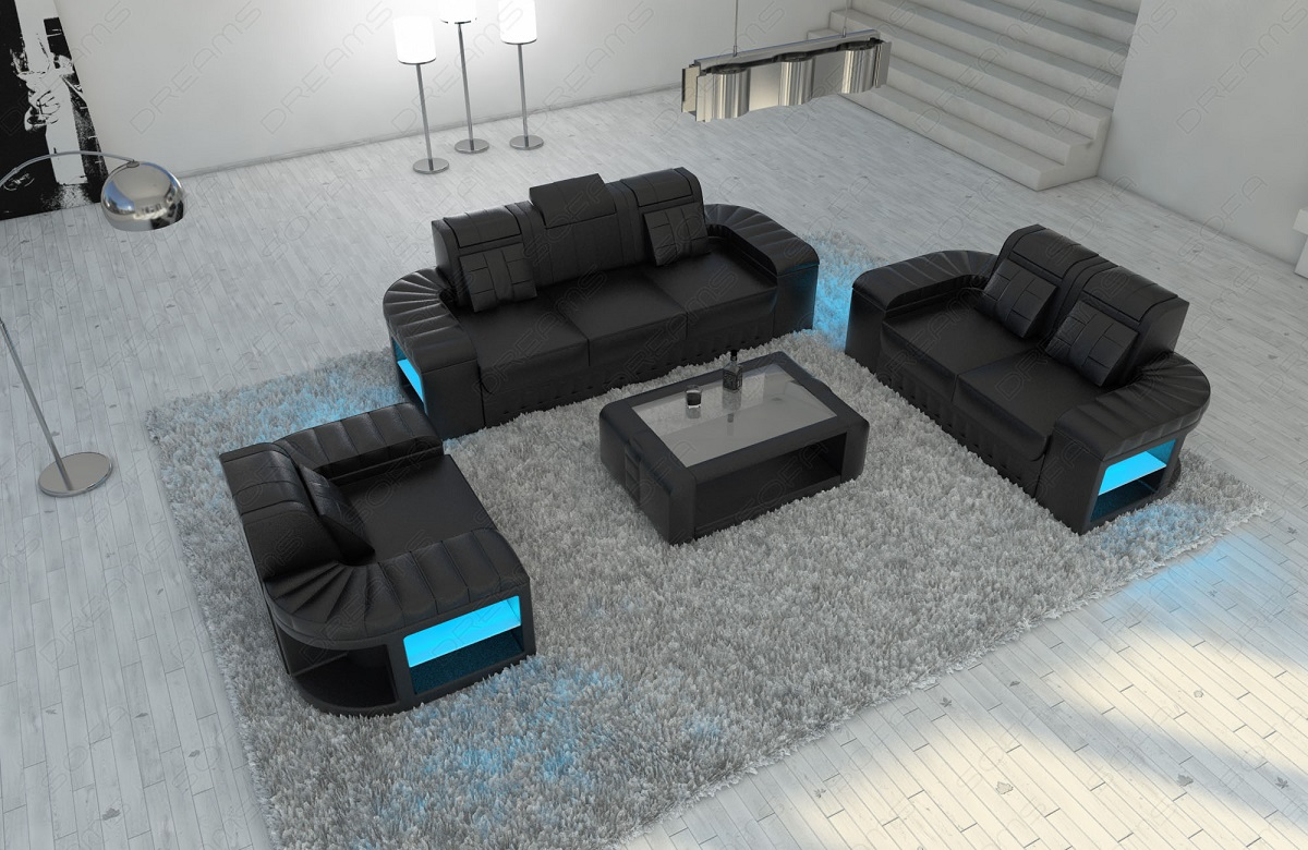 sofagarnitur couchgarnitur design bellagio 3 2 1 led beleuchtung ledersofa ebay. Black Bedroom Furniture Sets. Home Design Ideas