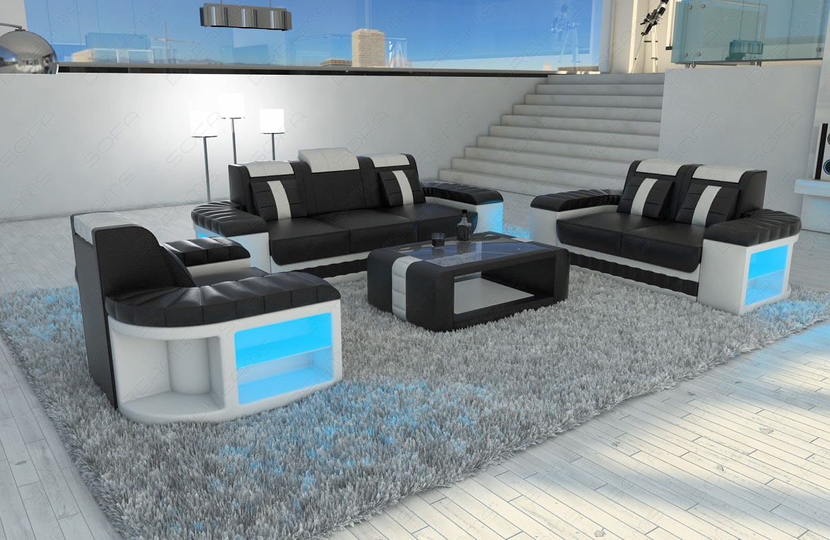Design sofa set 3 2 1 bellagio couch with led lights and for Sofa garnitur