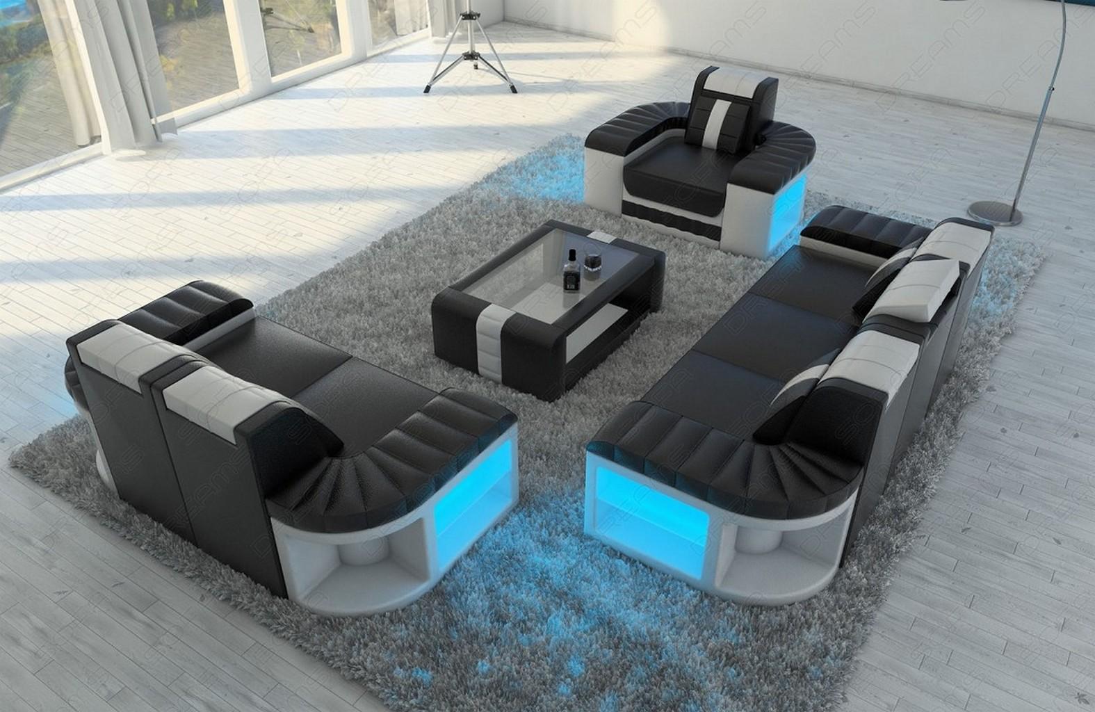 Sofa Garnitur Couch Garnitur Design BELLAGIO 3 2 1 LED