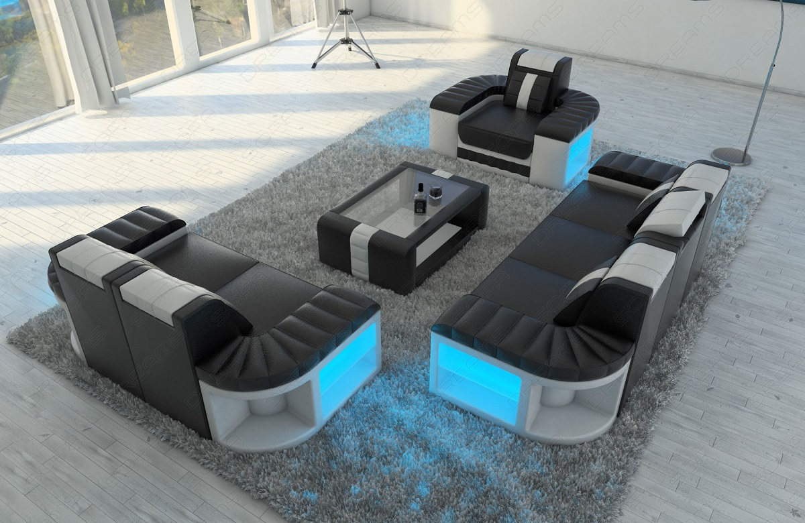 sofa garnitur couch garnitur design bellagio 3 2 1 led. Black Bedroom Furniture Sets. Home Design Ideas