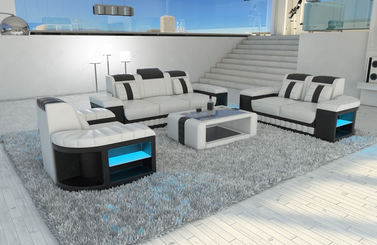 Leather Sofa Set Sofa Set Bellagio 3 2 1 With Led Lighting Leather Sofa Ebay